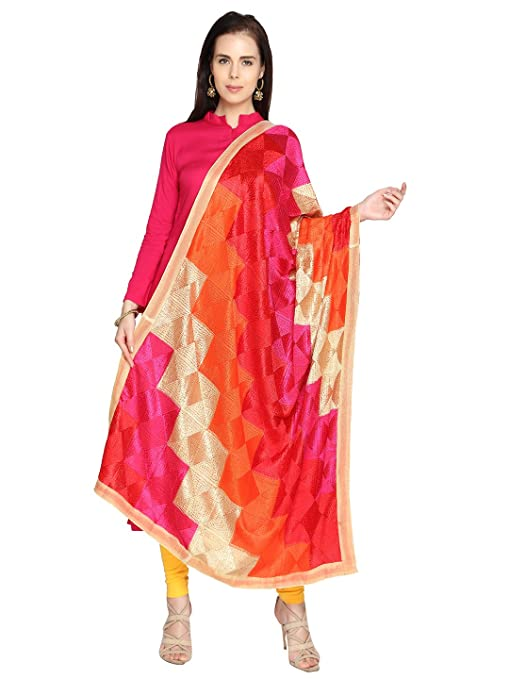 Dupatta Bazaar Women's Multicolouredi Phulkari Embroidery Chiffon Dupatta Dupattas & Stoles at amazon