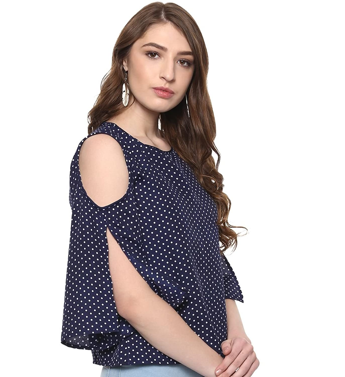 4cd1a777d7c65e indietoga women blue polka dots cold shoulder top western wear (plus size  xs to 7xl
