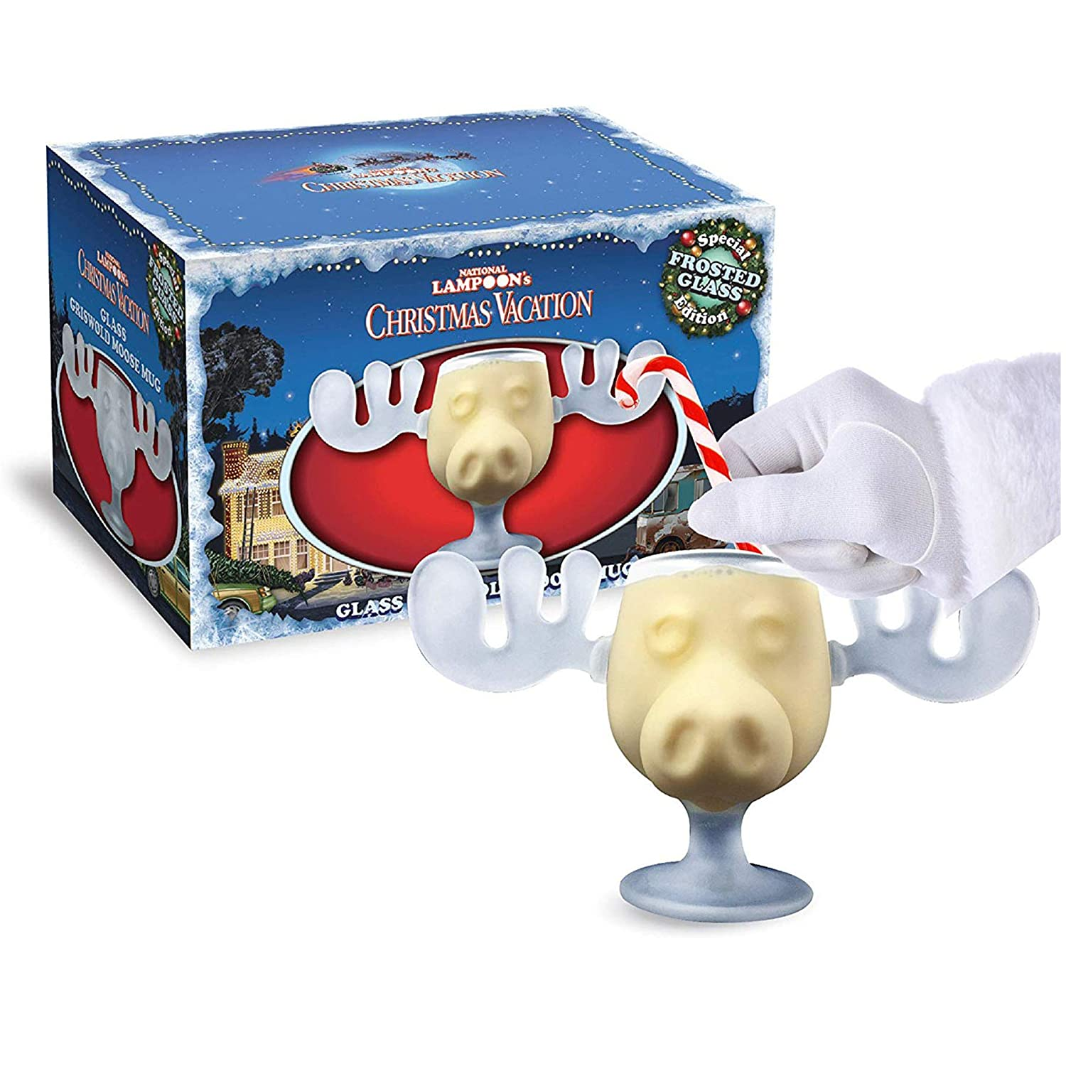 Cultica Christmas Vacation Beautiful Moose Mug/Includes Handmade high-quality glass North Pole Candy Cane/Stirrer Swizzle