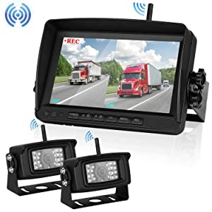 Digital Wireless Dual Backup Camera 7'' Monitor Kit Split Screen Recorder for Trailer/RV/Truck/Camper Rear View Camera Night Vision IP69K Waterproof