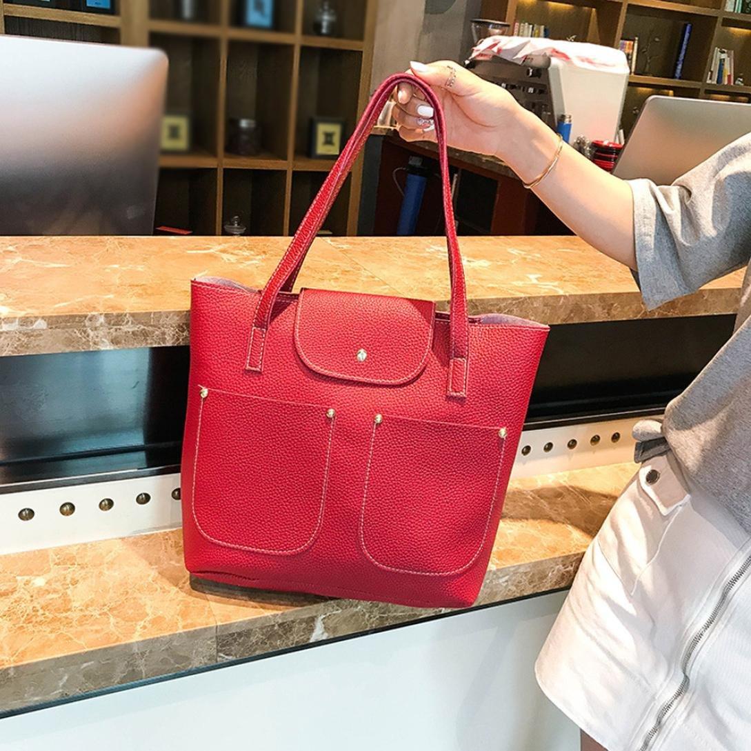 Amazon.com: FDelinK PU Leather Satchel Purse and Handbag for Women Tote Bag Shoulder Bags 4Pcs/Set Bag (Black): Clothing