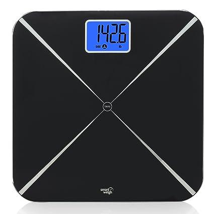 Smart Weigh Smart Tare Báscula digital de peso corporal para baño con tecnología de peso para bebés o mascotas, pantalla LCD grande y plataforma de ...