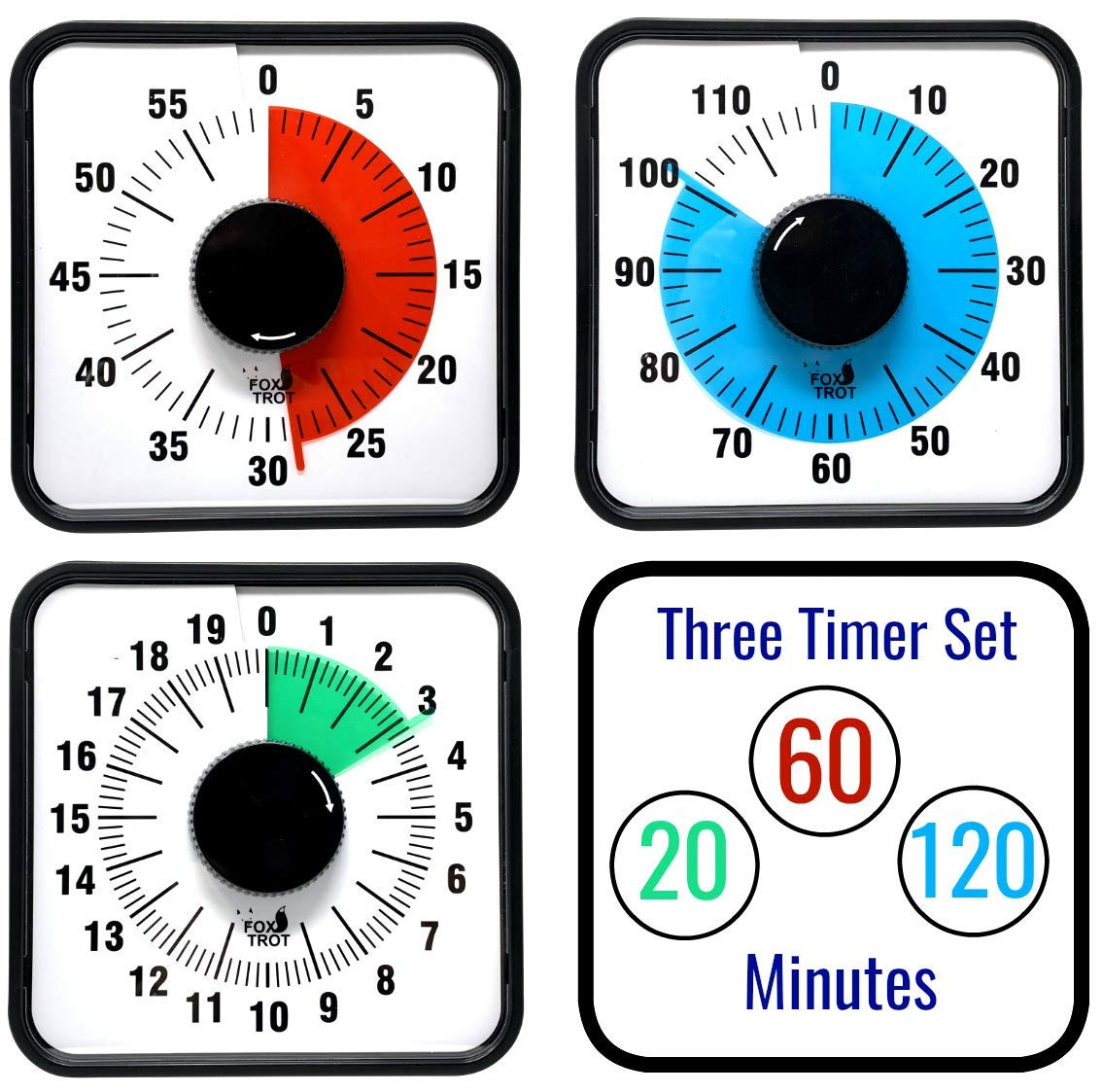 3 Pack of Visual Timer 20 Minute 60 Minute and 120 Minute Leg Stands or Hang On Walls Fox Trot Magnetic Back