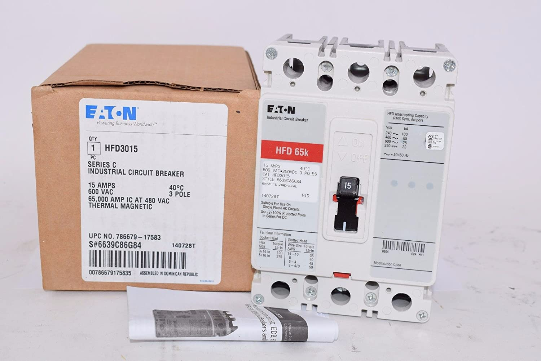 CUTLER HAMMER HFD HFD3015 SERIES C CIRCUIT BREAKER 600 VAC 250 VDC 15 A 3 POLE