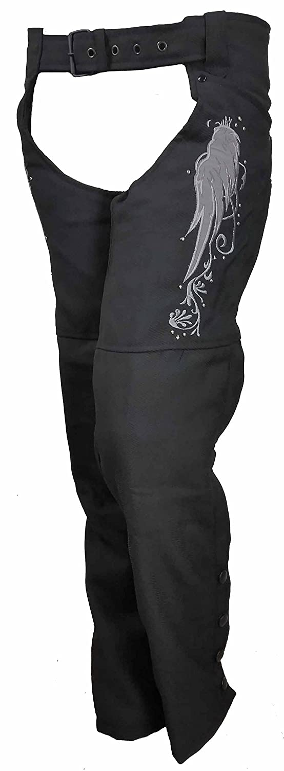 Ladies Textile Chaps With Reflective Wings /& Embroidery