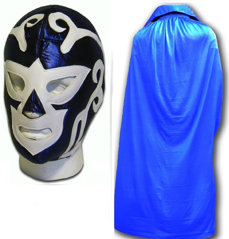 WRESTLING MASKS UK Men's Huracan Fancy Dress Luchador Wrestling Mask W/ Cape One Size Blue by Wrestling