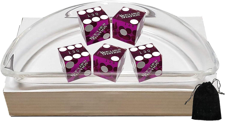 Cyber-Deals Craps Dice Kit Purple Polished Acrylic Dice Boat Set of 5 Authentic Las Vegas Casino 19mm Craps Dice Boulder Station Dice Storage Pouch