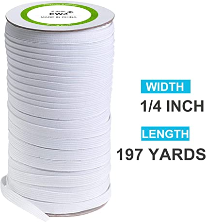 144 Yards White Sewing Elastic Cord 1//4 Width Elastic Flat Band Heavy Stretch Elastic Rope