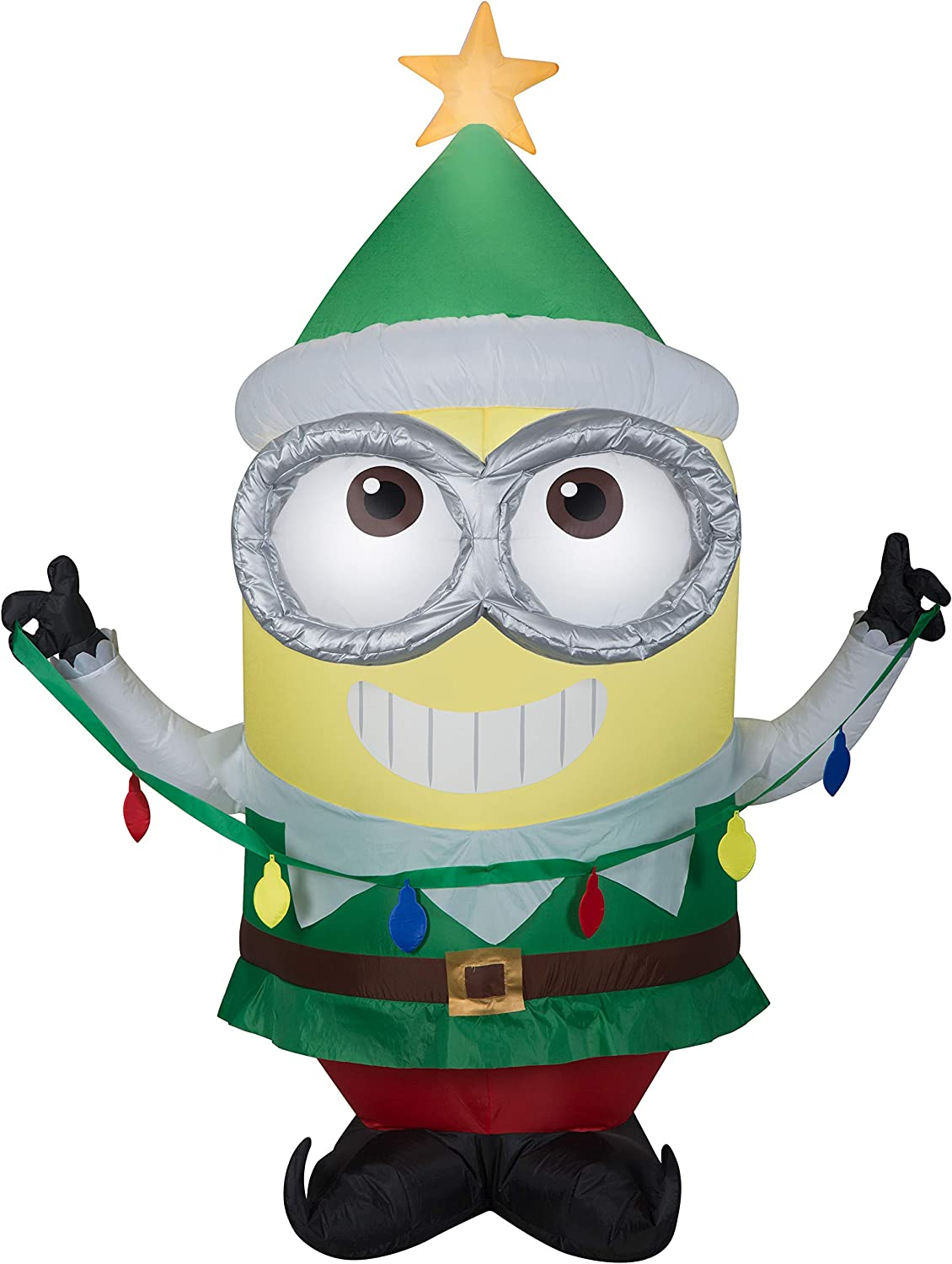 Gemmy 5Ft. Tall Christmas Inflatable Airblown Minion Dave in Green Elf Suit with Star On His Cap Indoor/Outdoor Holiday Decoration