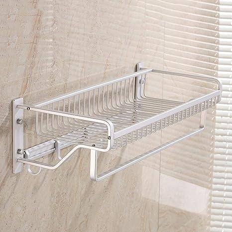 NAERFB Estante Toallas,toallero del baño Toallas de baño Toalla Cesta de Aluminio Espacio Rack