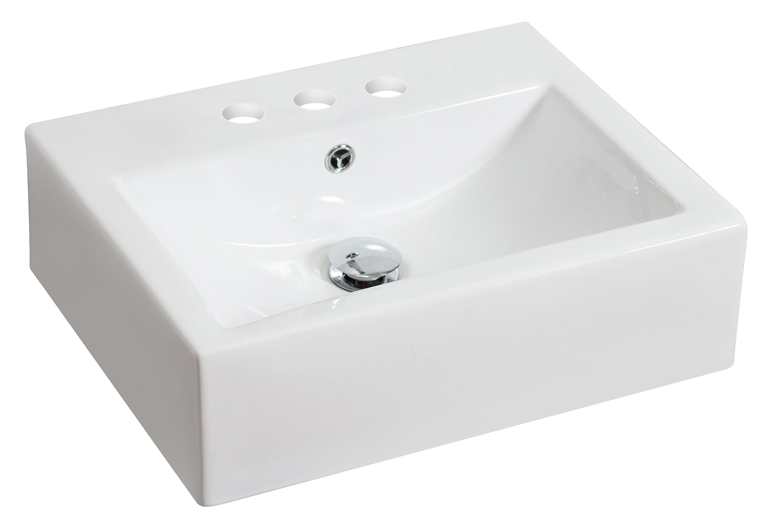 American Imaginations 593   Above Counter Rectangle White Ceramic Vessel with 4-Inch  Centers