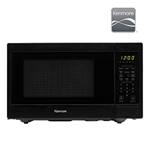Kenmore Elite 70929 0.9 cu. ft Small Compact 900 Watts 10 Power Settings, 12 Heating Presets, Removable Turntable, ADA Compliant Countertop Microwave, Black