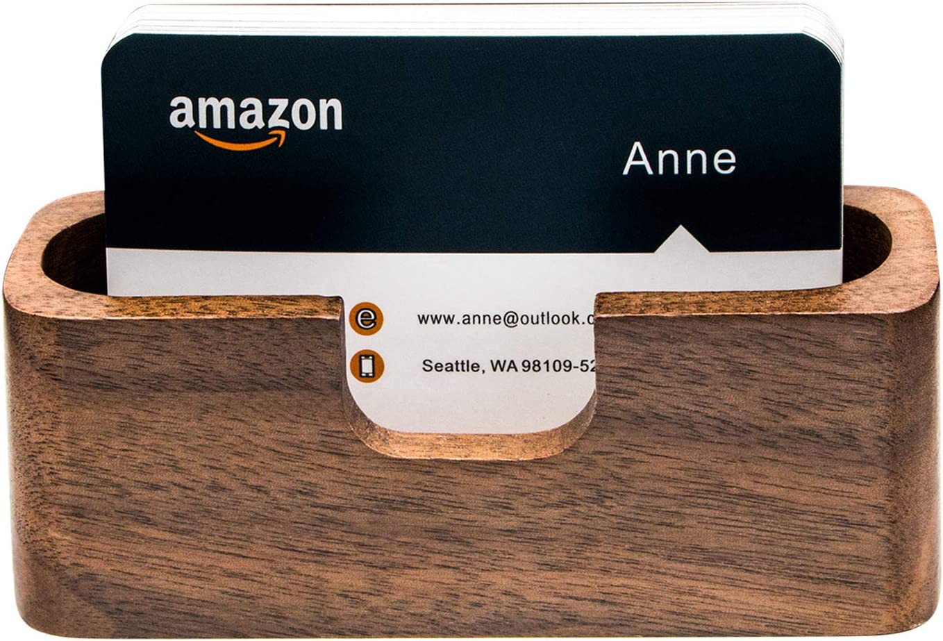 Padike Business Card Holder Wood Business Card Holder for Desk Business Card Display Holder Desktop Business Card Stand for Office (Rectangle-1)