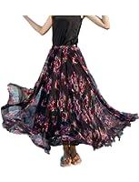 Relaxfeel Women's Flower High Waist Beach A Line Mixi Long Chiffon Skirt