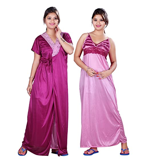 Bailey Stylish Satin Night Gown For Women With Jacket Nighty Combo