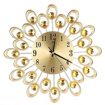 floralby flores moderno reloj de pared grande de cristal Silencioso decorativo relojes de pared para sala de estar: Amazon.es: Hogar