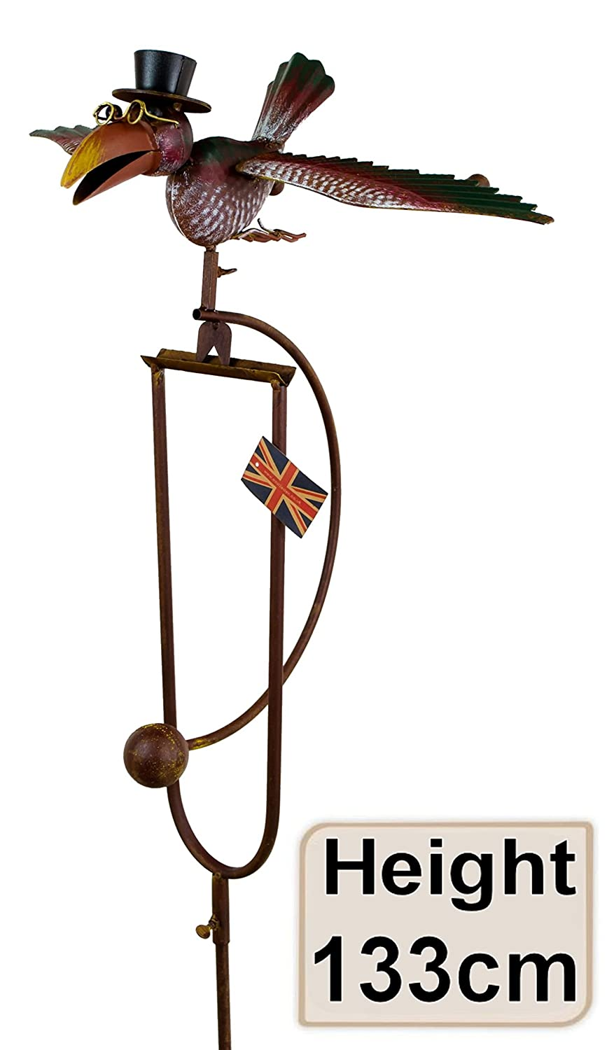 east2eden Rocking Balancing Flying Owl or Crow Metal Garden Wind Rocker Spinner Ornament (Colourful Dad) e2e