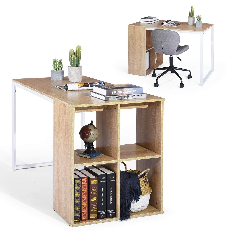Homycasa Computer Desk Writing Table Workstation Compartments Shelves Wooden Metal Oak White (Oak White) Homy Casa Inc