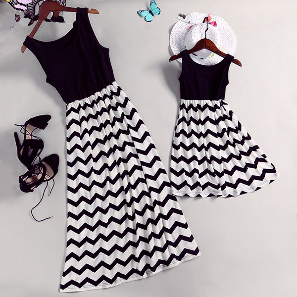 Lurryly Family Matching Mom Baby Girls Dress Wave Striped Print Outfits Family Clothes by Lurryly (Image #4)
