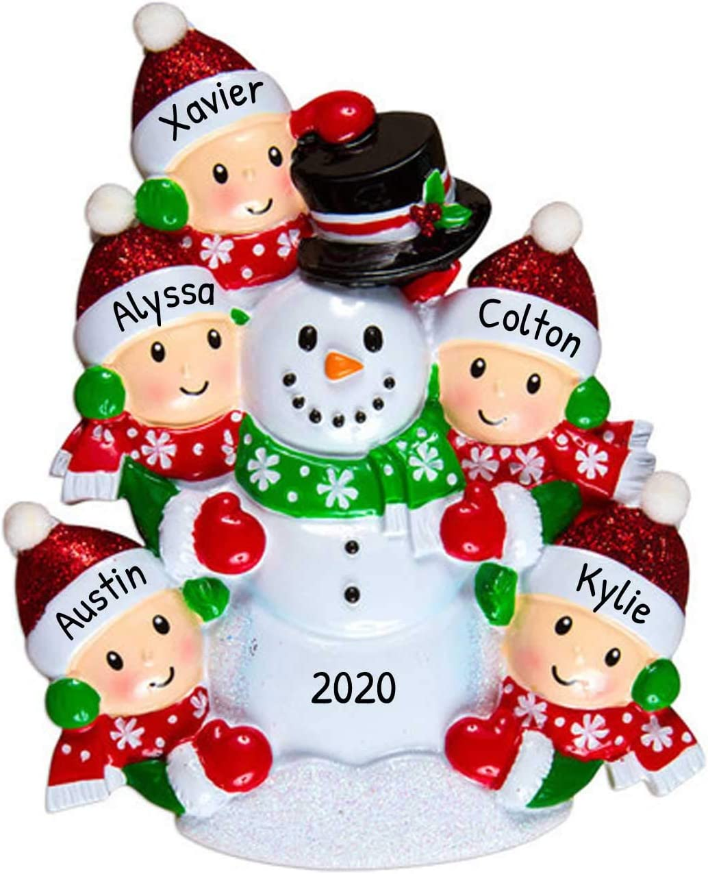 Building Christmas Decorations 2020 Amazon.com: Personalized Building Snowman Family of 5 Christmas