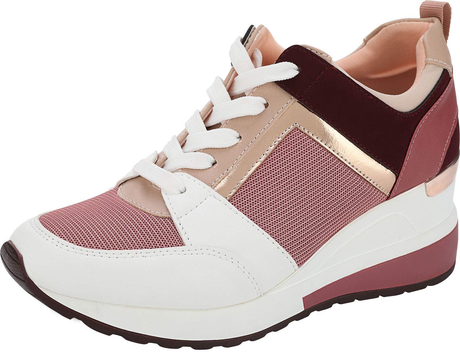 Yolanda Zula Women's Hidden Wedge Sneakers High Heel Fashion Lightweight Walking Shoes Pink, 5
