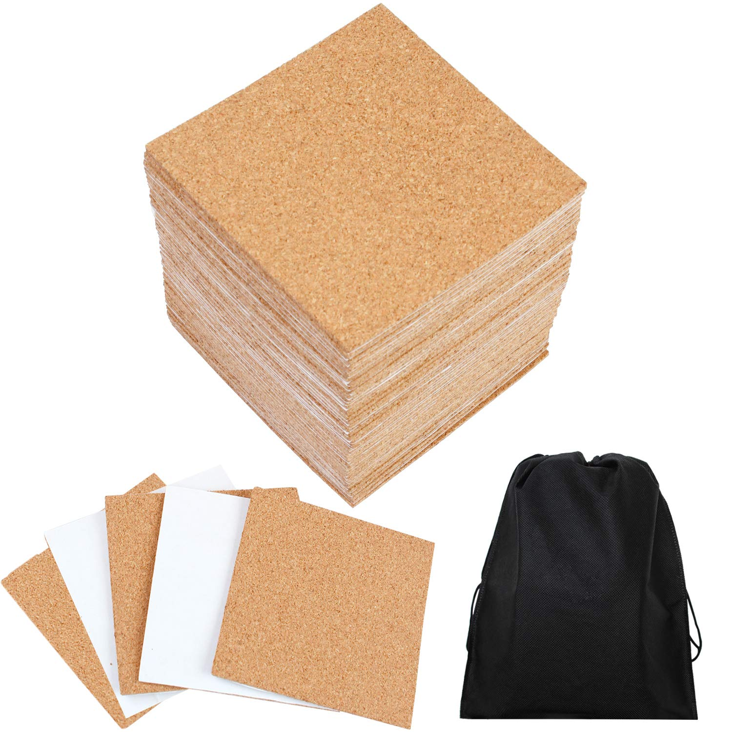 Resinta 50 Pack Self-Adhesive Cork Squares 4 x 4 Inch Cork Backing Sheets Mini Wall Cork Tiles with a Storage Bag for Coasters and DIY Crafts