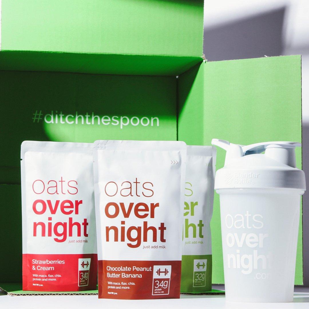 Oats Overnight Con BlenderBottle (3 onzas por paquete)-alta en proteínas,baja en azúcar,sin gluten 24 Variety Pack con BlenderBottle
