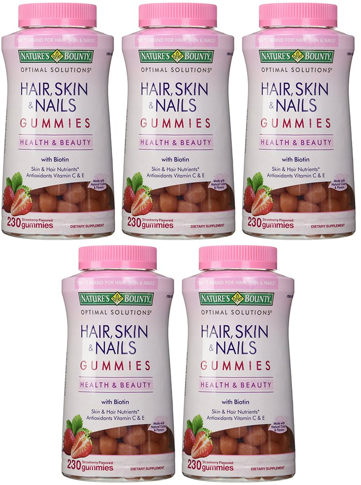 Natures Bounty kfXqB Hair Skin and Nails, 230 Gummies (5 Pack)