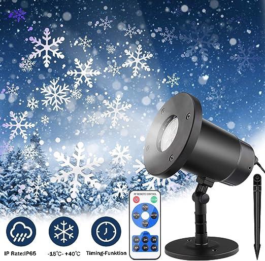 Proyector LED de Navidad, copo de nieve, con mando a distancia ...