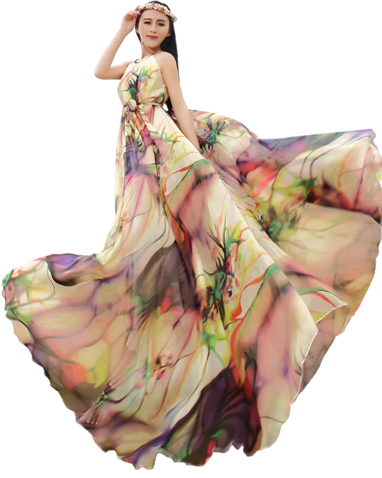 Medeshe Women's Chiffon Floral Holiday Beach Bridesmaid Maxi Dress Sundress (US Size 6-14; Length-120cm, Tropical Color)