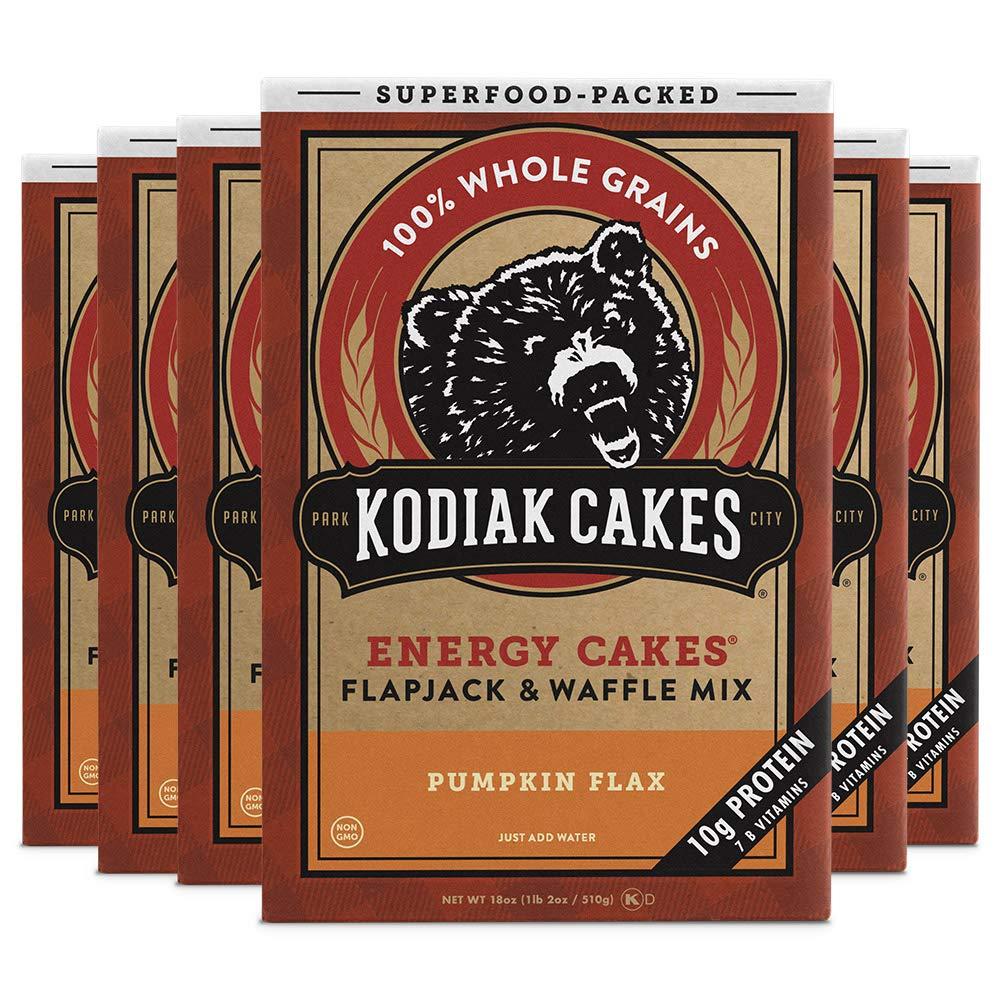 Kodiak Cakes Protein Pancake Energy Cakes, Flapjack & Waffle Mix, Pumpkin Flax, 18 Oz (Pack Of 6)