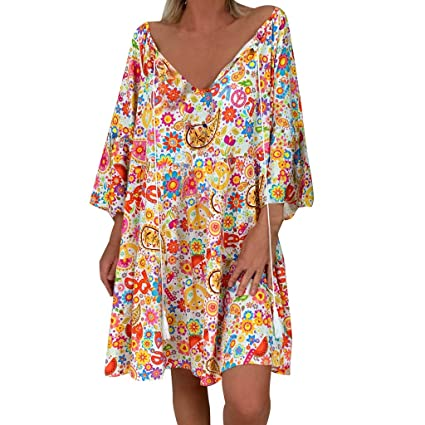8f35ecc60b2d Image Unavailable. Image not available for. Color: Women's Dress Sweet &  Cute V-Neck Bell Sleeve Shift ...