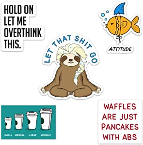 Funny Waterproof Vinyl Sticker Pack for Hydro Flasks, Water Bottles, Laptops, and Phones, Includes