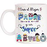 FUNNY CUP Taza Eres un Gran Padre y un Super Abuelo Taza de Regalo para el día de los Padres o Abuelos. Ideal para…