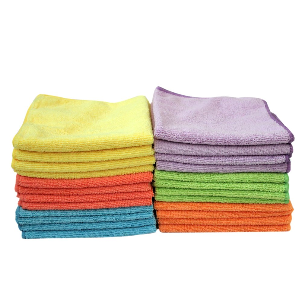 Jebblas Dish Towels Microfiber Cloths Dish Rags Cleaning Cloth Ultra Soft Multicolor Absorbent Streak Free Flash Drying Great Car Cleaning Rags Auto Detailing Towels 13.7 x13.7inch 24 pack by Jebblas