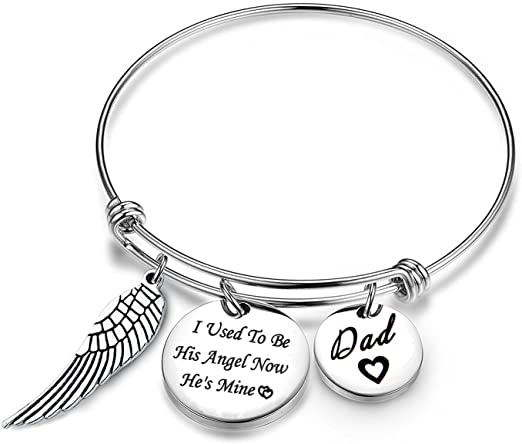 MYOSPARK A Piece of My Heart is in Heaven Memorial Bracelet Hand Stamped Bracelet Loss Memorial Gift