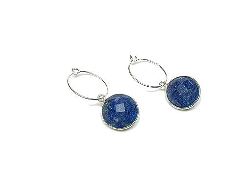 Boucles doreilles pendantes 2 boules Lapis Lazuli