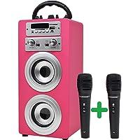DYNASONIC - Altavoz Bluetooth Portatil con Modo Karaoke y Micrófono, Radio FM y Lector USB SD (Modelo Rosa) (2 Micros…