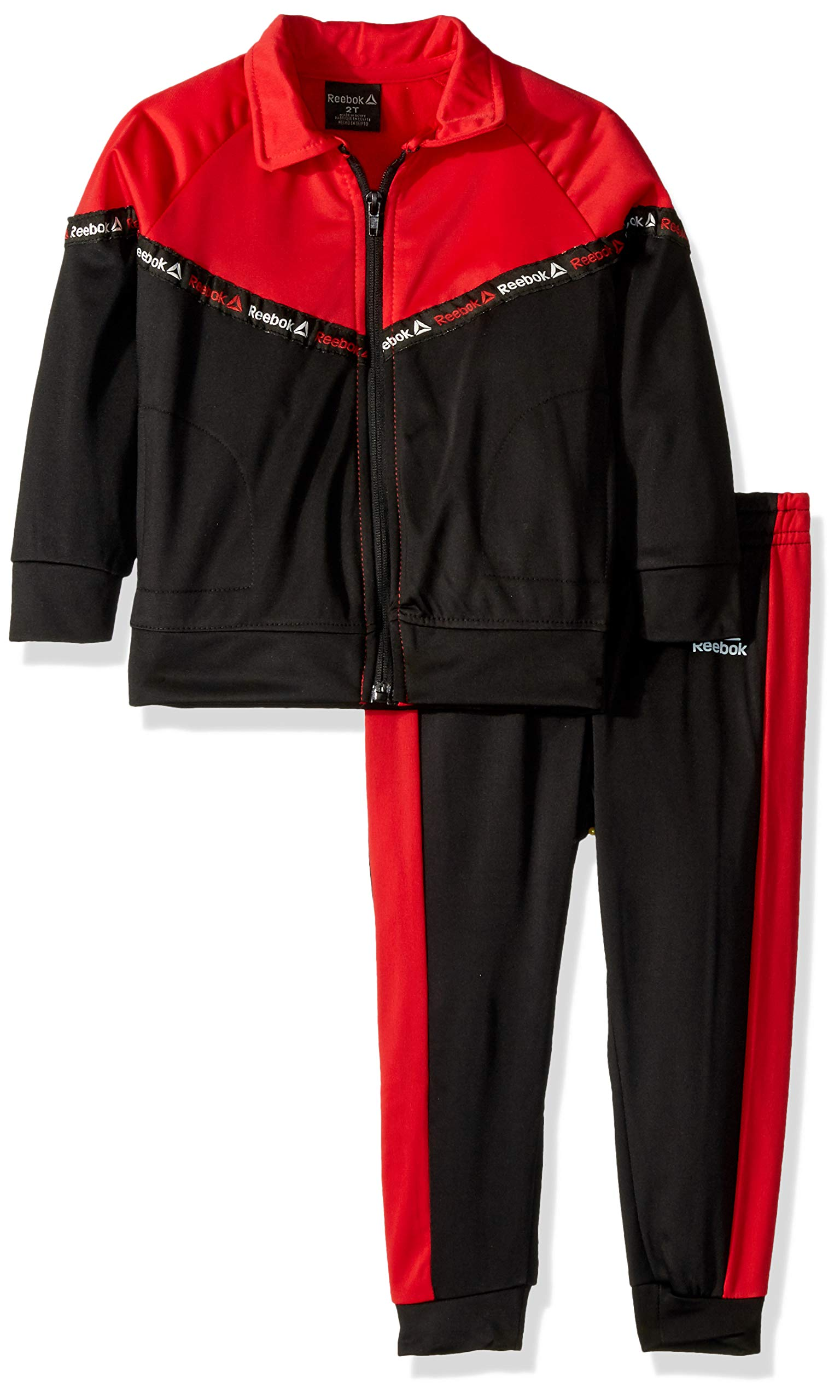 Reebok Boys' Toddler Two Color Tricot Bomber Jacket and Jog Pant, Black, 4T