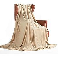 Soft Warm Fleece Throw Blanket Decorative Home Couch Outdoor Travel Use (Beige, 127*152cm)