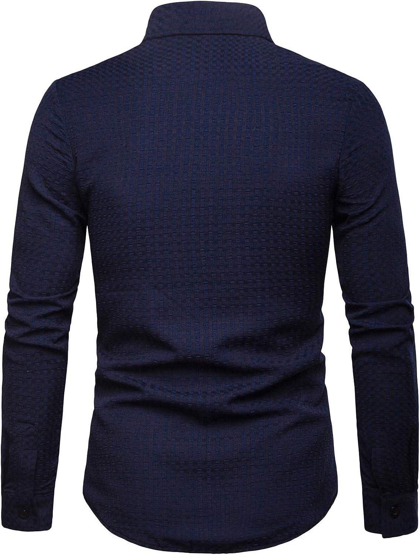 ZEROYAA Mens Hipster Elastic Long Sleeve Casual Button Down Small Plaid Check Shirts