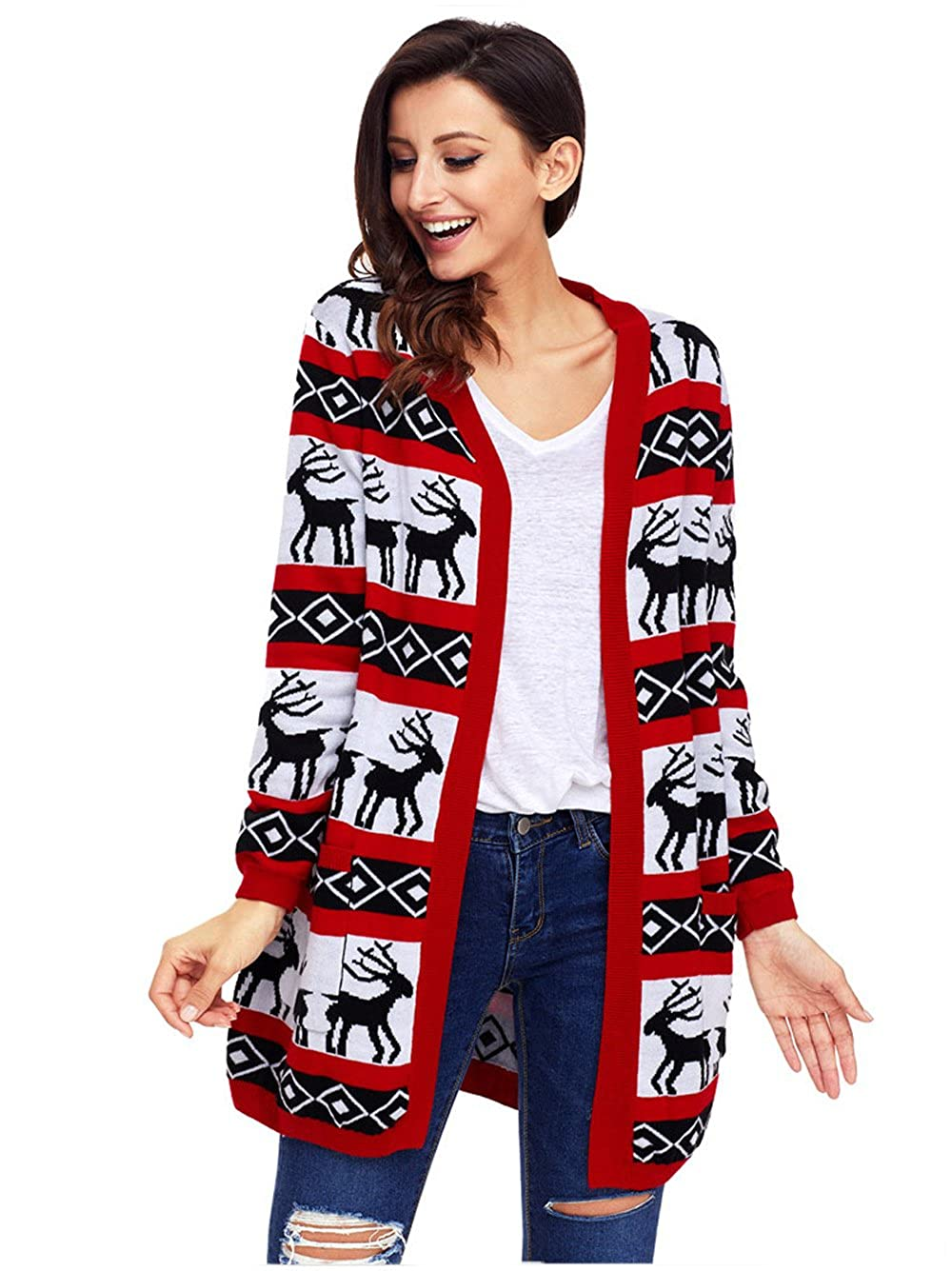 SheShy Women Sweater Jumper, Casual Open Front Long Sleeve Cardigan Sweater With Pocket