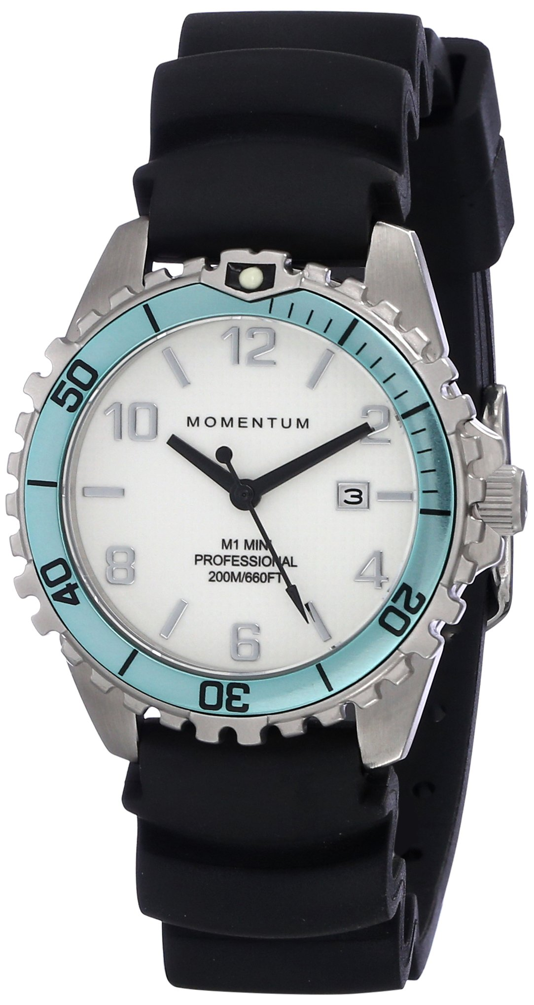 Women's Quartz Watch | M1 Mini by Momentum | Stainless Steel Watches for Women | Dive Watch with Japanese Movement & Analog Display | Water Resistant ladies watch with Date - White / Aqua Rubber