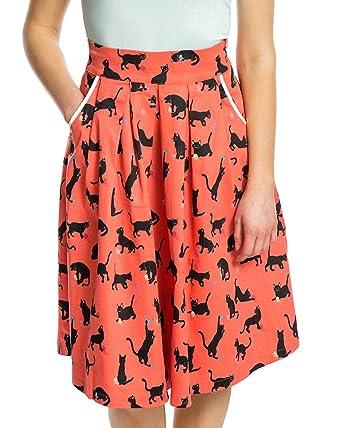 96b0157ce2d Lindy Bop Daniella  Coral Cats Wool Print Swing Skirt Size - 26 ...