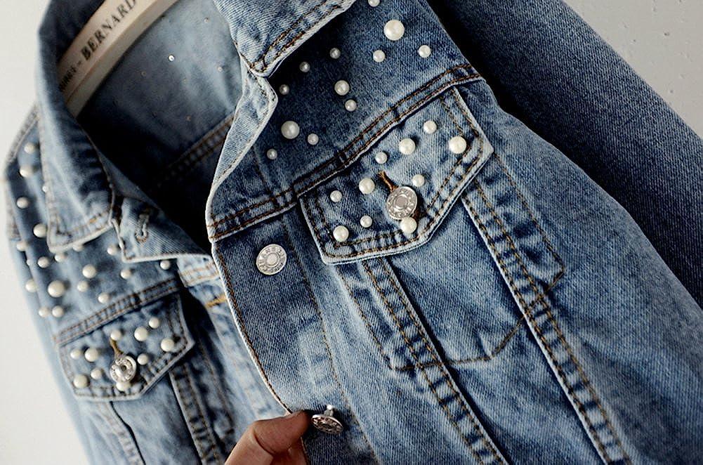 LifeShe Womens Embroidered Pearl Denim Jean Jacket Coat