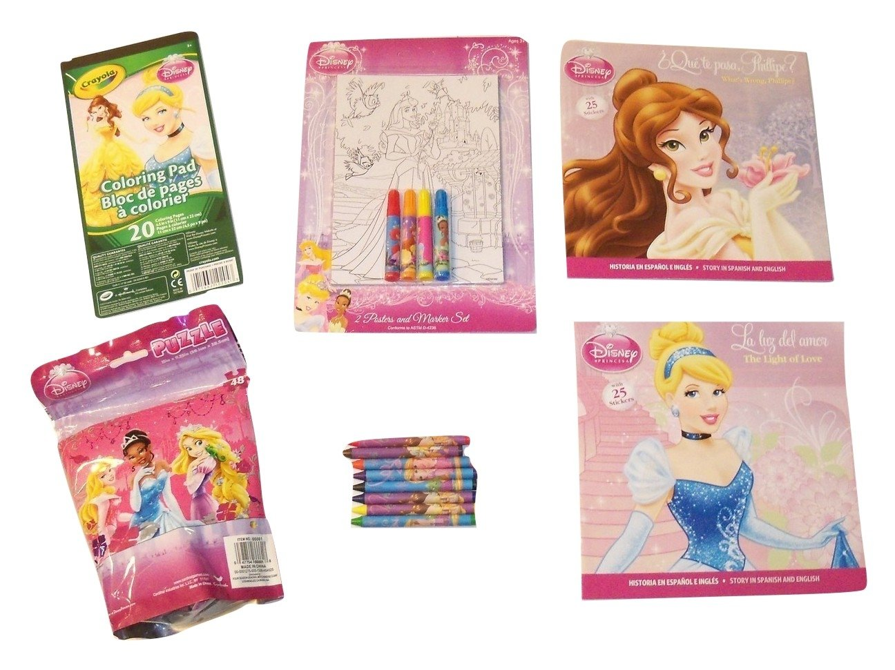 Disney Princess Activity Gift Set ~ Made for a Princess (Poster and Marker Set, Crayola Coloring Pad, Puzzle in a Bag, Paperbacks, Crayons; 6 Items, ...