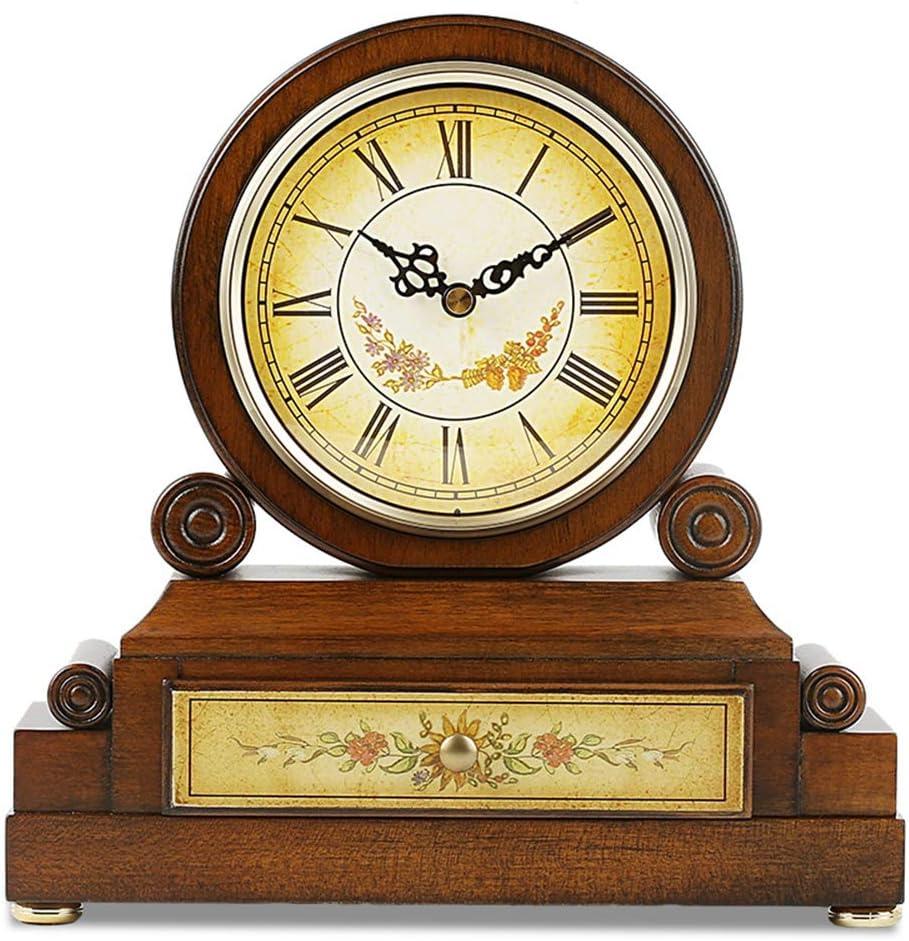 マンテル時計 置き時計 木製 レトロ 置時計,毎時の音楽時間のデザイン,家の装飾時計クラシックリビングルーム 寝室 研究 デスククロック,26cmx25.5cm