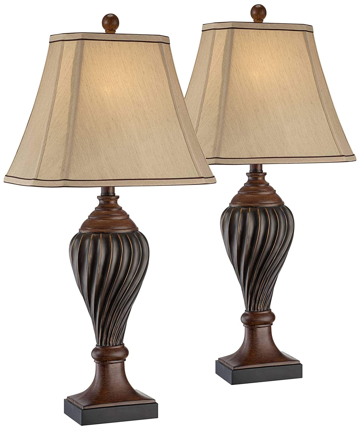 Traditional table lamps set of 2 carved two tone brown urn beige rectangular shade for living room family bedroom regency hill amazon com