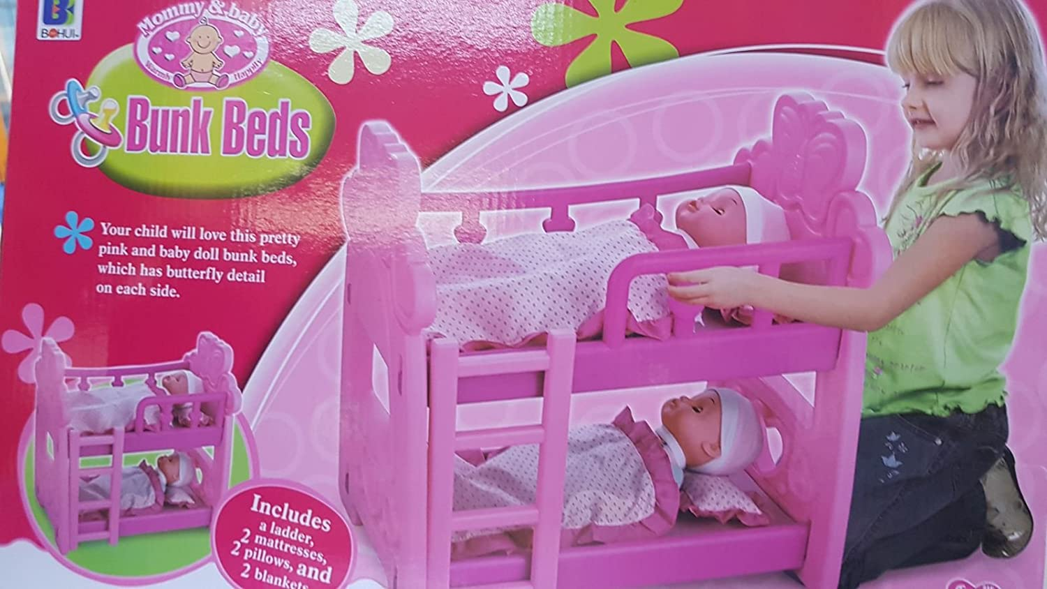 Pink Double Dolls Baby Bunk Bed Toy With Accessories Ladder Pillow