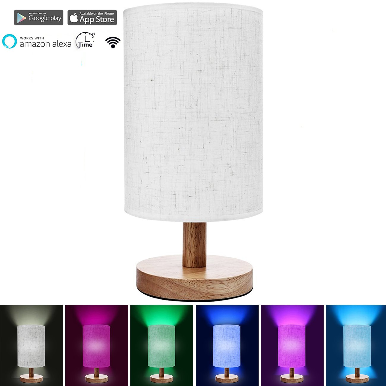 Smart Alexa Lamp Wood Table Lamp Voice Control Lamp, Dimmable Multicolored Color Changing LED Light, with Fabric Shade and Solid Wood, Smartphone Control Compatible with Alexa (B)